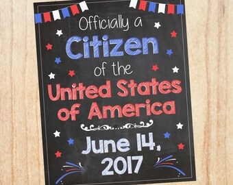 New Citizen Sign PRINTABLE united states naturalization announcement  DIGITAL us usa