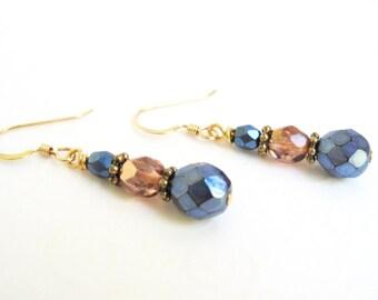 Blue Drop Earrings, Dark Blue and Apricot Earrings, Czech Bead Earrings, Blue and Peach Gold Filled Earrings, Czech Bead Jewelry