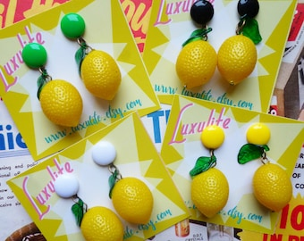 Zesty Lemons! Handmade 40s 50s vintage inspired novelty pinup earrings by Luxulite