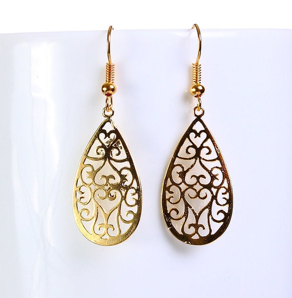 Gold plated teardrop filigree drop dangle earrings (651)