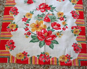 Vintage Kitchen Towel - Red Yellow Green Floral + Southern Belles Print