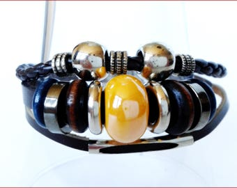 triple strap leather bracelet beads ceramic metal wood and resin