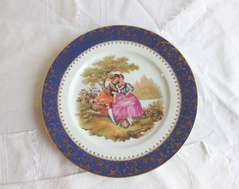 Vintage Limoges decorative plate 402 B Fragonard's Lovers