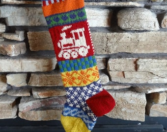 Knit Christmas Stocking, Personalized Knit Christmas Stocking, Christmas Stocking, Knitted Christmas Stocking, Fair Isle Knit,  Red Train
