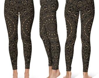Camel Yoga Pants, Black Leggings with Brown Mandala Designs for Women, Printed Leggings