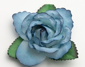 Mulberry Paper Open Roses - Blue  - 12 Roses x 50mm - Favour Decoration Card Craft, Scrapbooking Embellishments