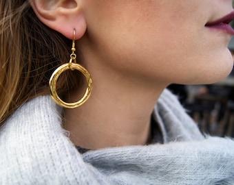 Gold-plated Geometric Circle Earrings