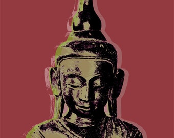 Thai Buddha Pop Art - canvas giclee - red
