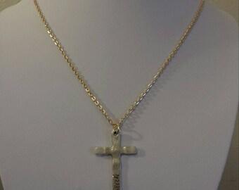Faith Believe silver cross pendant necklace 3mm wide gold iron cross chain men / women choose length