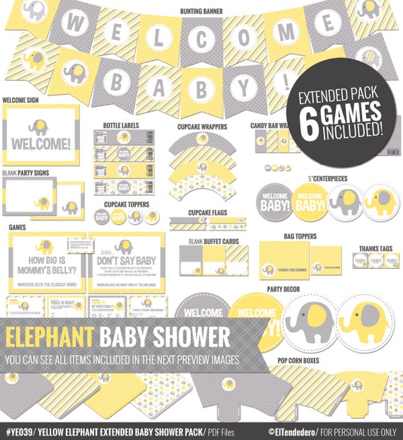 Yellow Elephant Baby Shower Decorations   Printable Yellow And Gray Baby  Shower Package   Cute Neutral Gender Shower Decor.