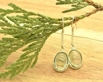 Green Amethyst Drop Earrings Dangling Genuine Green Amethyst Earrings Green Gemstone Drop Earrings Green Stone Earrings Gemstone