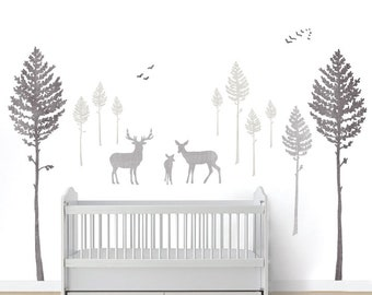Deer and Pine Tree Wall Decals - Watercolor