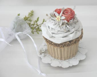 Spring Wedding Cupcake With Flowers And Coconut Recycled Cardboard  Art Cake Home Kitchen Decor Art