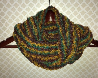Blue Brown Yellow Striped Moebius Scarf