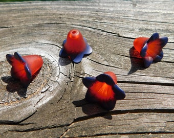 4 Red and Blue Hand Painted Lucite Lily Flower Beads
