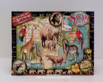 Out of Africa Series Cards...Let's Go On An Adventure...Jungle Animal Gathering...Layers of gorgeous Graphic 45 papers and embellishments!
