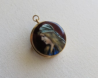 French Victorian 10K Gold Limoges Hand Painted Enamel Portrait Pendant Brooch Signed Vreix
