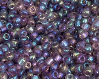 ♥ 10 grams seed beads glass tube purple iridescent AB 3.5mm♥