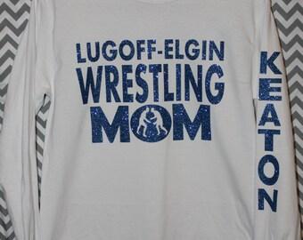 Personalized Wrestling Mom Shirt Glitter Vinyl