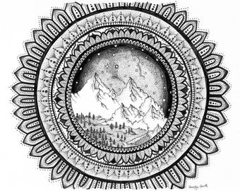 Mountain Mandala -Dot-work Ink Drawing