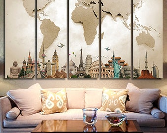 World map canvas etsy world map canvas art wold map large canvas art world map canvas print world map wall decor wall art wold map canvas painting world map art gumiabroncs Image collections
