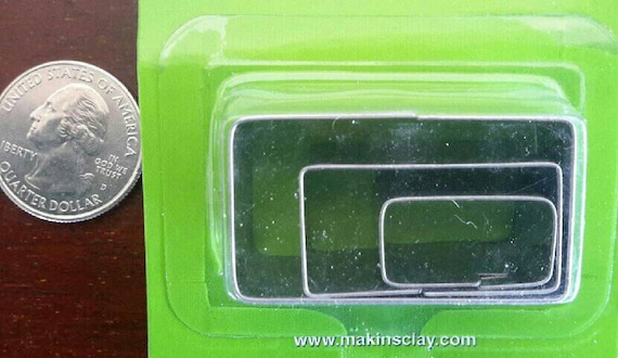 """3 piece rectangle cookie cutter set with sizes from 7/8"""" to 1-3/4"""" tall"""
