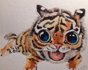 Hand Painted, Watercolor Greeting Card, OOAK,  Original Artwork.....Baby Critters