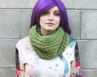 Olive Green Crocheted Cowl - Thick, Soft, and Super Warm Acrylic Yarn Eternity Scarf - OOAK Ready To Ship