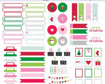 Merry Christmas Holiday Embellishment Set - 77 images PNG Digital Clipart - Instant download - red & pink, office supplies, postmark, labels