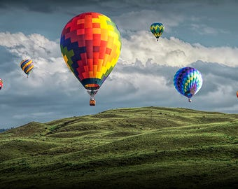 "Hot Air Balloons, Balloon Festival, Green Fields, Cloudy Sky, Airship, Fine Art, Aviation, Balloon Photograph, ""Hot Air Balloons"""