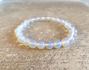 Bracelet men / women Moonstone - white / transparent