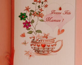 Greeting card. Beautiful mother's Day card, romantic shabby style. Handmade, handcrafted