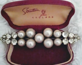 "Antique Edwardian faux pearl paste 3"" bar brooch"