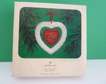 "Hallmark, Red Ribbon, Circa 1983, Ceramic Ornament, ""Love"" Heart, Made in Taiwan"