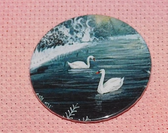 CLEARANCE, Seconds stock, Swan Needle Minder, Licensed, Cross Stitch Keeper, Jo Grundy Art, Fridge Magnet, Button Magnet, Pin Holder