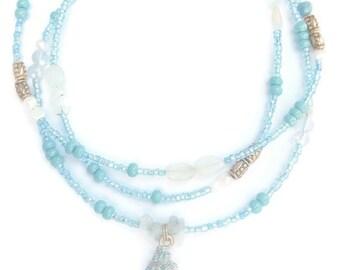 Aquamarine Waist Beads, Beach Waist Beads, Bikini Waist Chain, African Waist Beads, Blue Belly Beads, Sexy Waist Beads, Crystal Waist Chain
