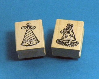 Birthday Party Hats Rubber Stamps