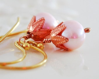 Pink Pearl Earrings, Copper, Genuine Freshwater, Drop Earrings, Rose Pastel, Gold Filled Mixed Metal Jewelry, Free Shipping