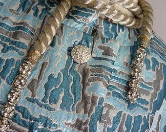 Elegant Metallic Brocade Opera Coat / 1960s  Maxi  Rhinestone Buttons Evening / size 10 12 14 / Silver Blue Grey / ESTHER WOLF Houston
