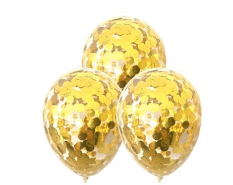 3 x GOLD CONFETTI Balloons - Set of 3 Metallic Gold Confetti Balloons (12 inches / 30cm)