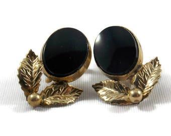 Tru-Kay Black Cabachon 12K Gold Filled Screw On Earrings, Tru Kay Earrings, Tru Kay Screw ons, Black Earrings, Gold filled Earrings
