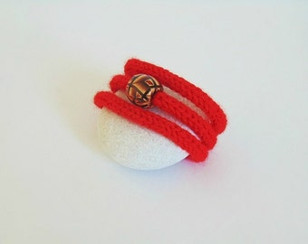 Knitted bracelet, knit bracelet, red bracelet, yarn bracelet, red jewelry, knitted jewelry, yarn jewelry, valentines day gift, red