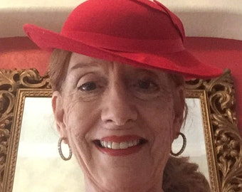 Geo Bollman Red 100% Wool Felt hat with a Gross Grain Ribbon bow along the side