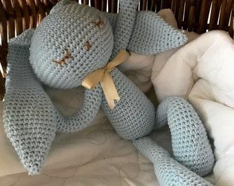 Baby amigurumi Bunny Buddy , amigurumi animal bunny long ears eyes closed ,crochet toy newborn , newborn gift, newborn birth gift , newborn
