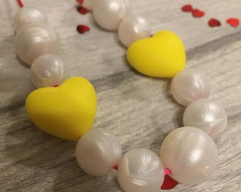 Queen of Hearts Valentines Yellow Teething Necklace / Nursing Necklace, Fully Adjustable, BPA FREE