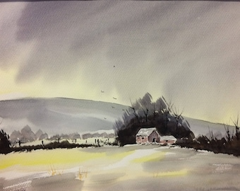 Original Watercolor Landscape Painting - Winters Sun
