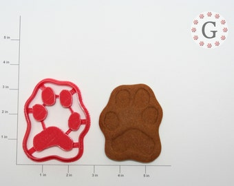 Large Dog Paw Print Cookie Cutter w/ Personalization Option