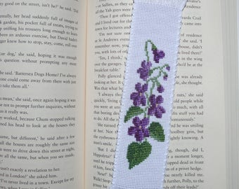 Cross stitch embroidered bookmark - Violets