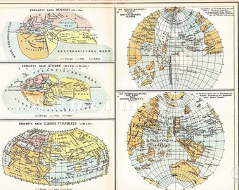1895 Develeopment of Geography, Cartography and Chart Drawing from Herodot 450 B.C. up to 1515 Johann Schöner Original Antique Map