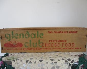 Vintage Cheese Box Glendale Club Wisconsin Pauly Cheese  Co. Manitowoc. WI *  Advertising.